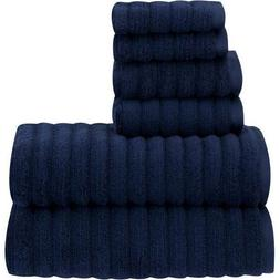 6 Piece Navy Textured Towel Set With 30 X 54 Inches Bath Tow