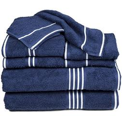 6 Piece Navy White Solid Color Towel Set With 27 X 53 Inches