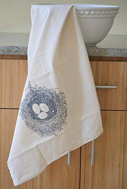 Nest Flour Sack Towel in Grey - Woodland Tea Towel - Flour S