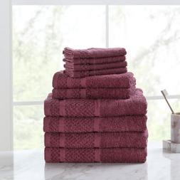 New 10 Piece Towel Set 100% Cotton Bath Towels Wash Cloths H
