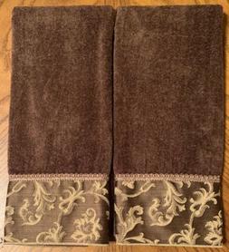 NEW 2PC Avanti Linens Damask Fringe Hand Towel Set MOCHA GOL