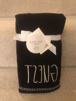 New Rae Dunn 2pk Black GUEST Bath Hand Towels