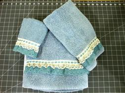 NEW 3 Piece Bath Set With Lace and Ribbon 1 Bath Towel,1 Han