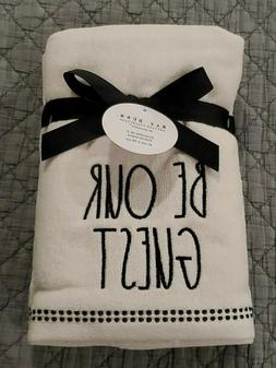 New RAE DUNN Be Our Guest Bathroom Hand Towels Set Of 2 16""
