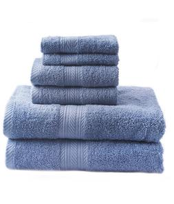 New Blue 6 Piece Bath Towel Set Hand Towels Washcloths 100%