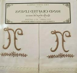 """NEW HAND CRAFTED LINENS EMBROIDERED MONOGRAM """"N""""  TWO GUEST"""