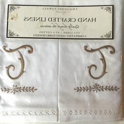 "New Hand Crafted Linens Embroidered Monogram ""T"" Two Linen C"