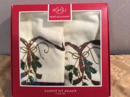 NEW Lenox Holiday Nouveau 2 Fingertip Towels Set Cotton Plai