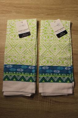 NEW  Kitchen Hand Towels Aztec Pattern 100% Cotton