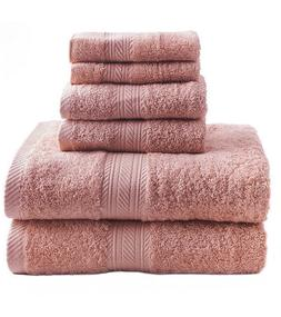 new pink 6 piece bath towel set