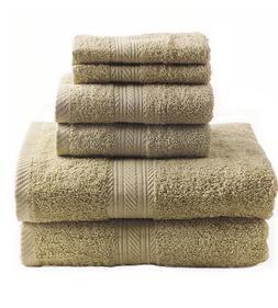 New Sand 6 Piece Bath Towel Set Hand Towels Washcloths 100%