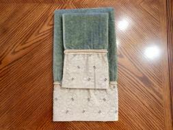 New AVANTI LINENS Set of 2 HEIRLOOM Olive Green Cotton Hand