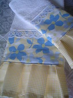 NEW Shabby Cottage CHIC GUEST HAND Towels blue flowers,check