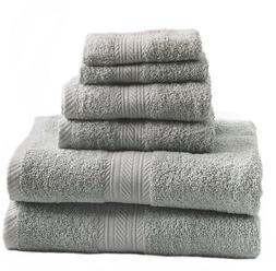 New Silver 6 Piece Bath Towel Set Hand Towels Washcloths 100