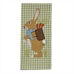 New Spring Easter Green Gingham BURLAP BUNNY WITH CARROTS Di