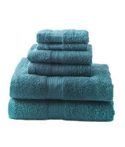New Teal 6 Piece Bath Towel Set Hand Towels Washcloths 100%