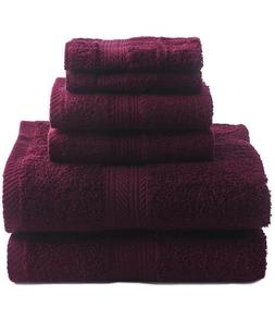 New Wine 6 Piece Bath Towel Set Hand Towels Washcloths 100%