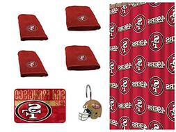 NFL San Francisco 49ers 18 Piece Bath Ensemble: Set Includes