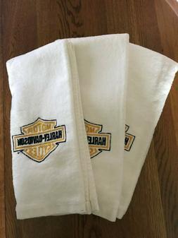 Nicely Embroidered Harley Davidson Logo White Cotton Fingert