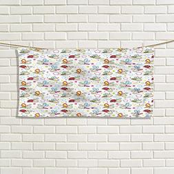 Nursery cotton hand towels Adorable Bugs with Colorful Flowe