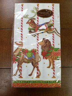 NWT Caspari 13340G Merry Go Round White 15-Count Guest Towel