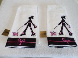 NWT 2 RARE  AVANTI LINENS WHITE  HAND TOWELS