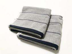 NWT DKNY 2PC Hand Towels Striped Gray Navy Blue Cotton Soft