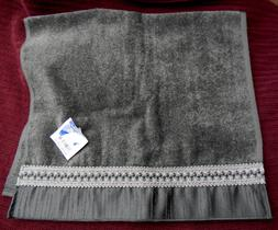 NWT AVANTI Braided Cuff II Bath Hand Towel Charcoal Gray