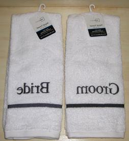 NWT Mainstays Bride & Groom Matching Hand Towels ~ White & G