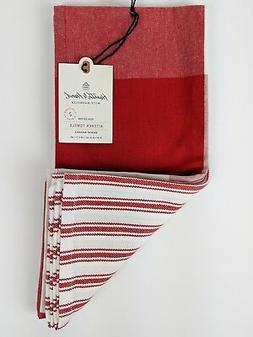 NWT Hearth and Hand Kitchen Towels  RED/WHITE Gingham Stripe