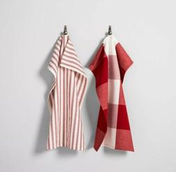 NWT Hearth & Hand Kitchen Towels  RED/WHITE Gingham Striped
