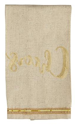 Mud Pie Oatmeal Linen Cheers Hand Towel