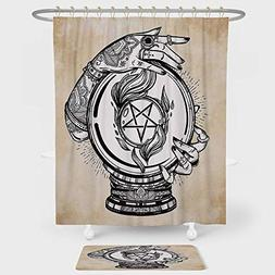 iPrint Occult Decor Shower Curtain And Floor Mat Combination