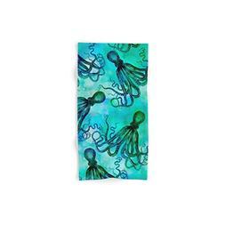 octopus blue green mixed media