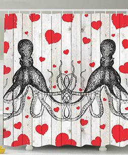 octopus shower curtain couple lovers