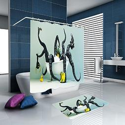 Octopus Shower Curtain with 12 PCS Showers Hook European Sty