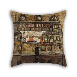 Oil Painting Egon Schiele - House Wall On The River Pillowco