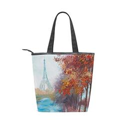 LORVIES Oil Painting Of Eiffel Tower Canvas Tote Bag Zippere
