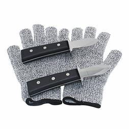 Oyster Knife Shucker Stainless Steel 2 pcs SET with Gloves