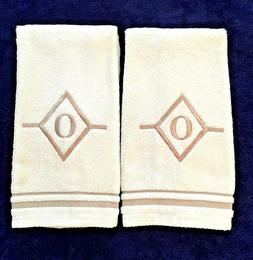 Pair of Hand Bath Towels Embroidered and Monogrammed O Gold
