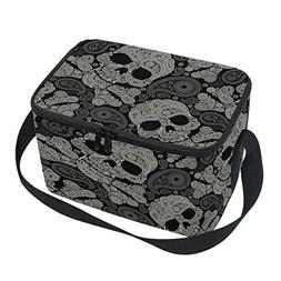 Naanle Paisley Skull Canvas Zipper Insulated Lunch Bag Coole