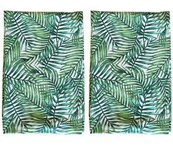 Palm Print Leaf Tea Towel SET OF 2 Absorbent Hand towels 100