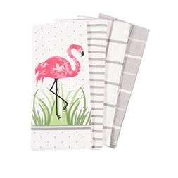 Pantry Flamingo Kitchen Dish Towel Set of 4, 100-Percent Cot