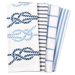 Pantry Nautical Knots Kitchen Dish Towel Set of 4, 100-Perce