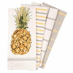 Pantry Pineapple Kitchen Dish Towel Set of 4, 100-Percent Co