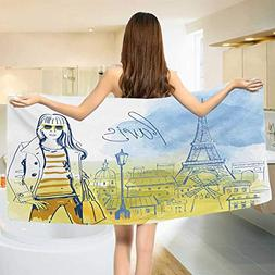 Chaneyhouse Paris,Bath Towel,Paris Theme Eiffel Tower and Ha