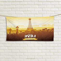 Paris,Hand Towel,Eiffel Tower with Tulip and City Silhouette