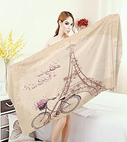 homecoco Paris Large Bath Towel Bonjour Paris Eiffel Tower a
