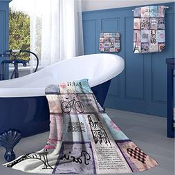 familytaste Paris Print towel set Grunge Textured Retro Coll