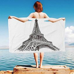 iPrint Paris Quick Dry Plush Microfiber  Hand-Drawn-Style-Il